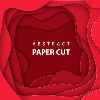 真っ赤な色紙カットのベクトルの背景