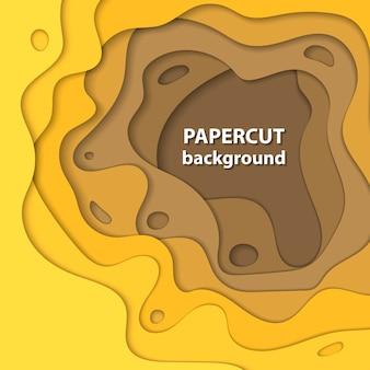 黄色のグラデーションペーパーカットのベクトルの背景