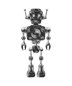 モノクロのロボットの手描きのスケッチ