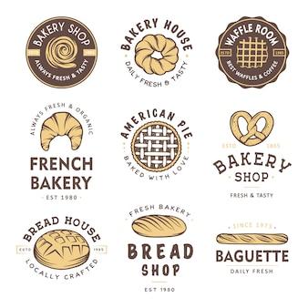 ビンテージスタイルのベーカリーショップのバッジとロゴのセットです。