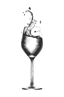ワインのグラスの手描きのスケッチ