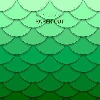 Векторный фон с зеленым градиентом цветной бумаги вырезать фигуры