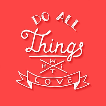 赤の背景に愛をこめてすべてのものを愛する