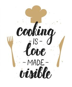 料理は愛を目に見えるようにし、レタリングします