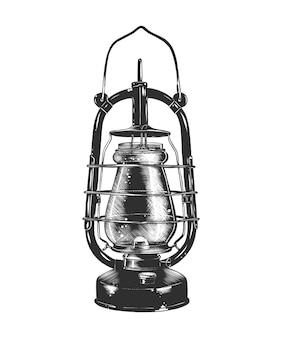 白黒灯油ランプの手描きのスケッチ