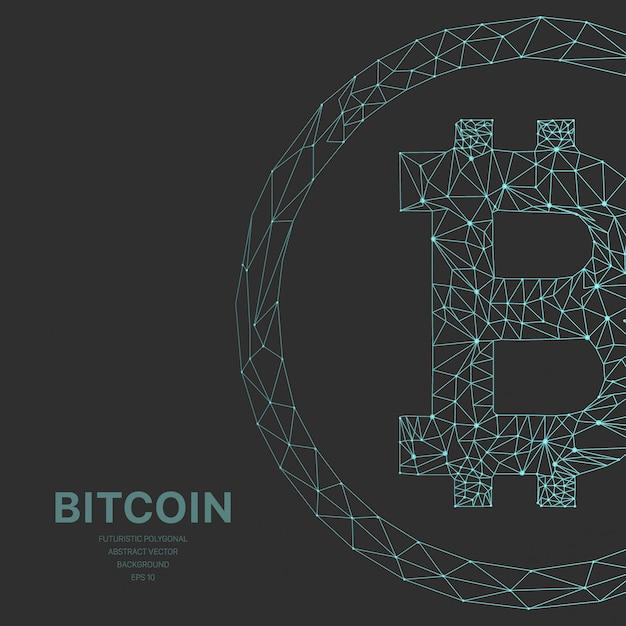 Полигональная сетка футуристическая с крипто биткойнами