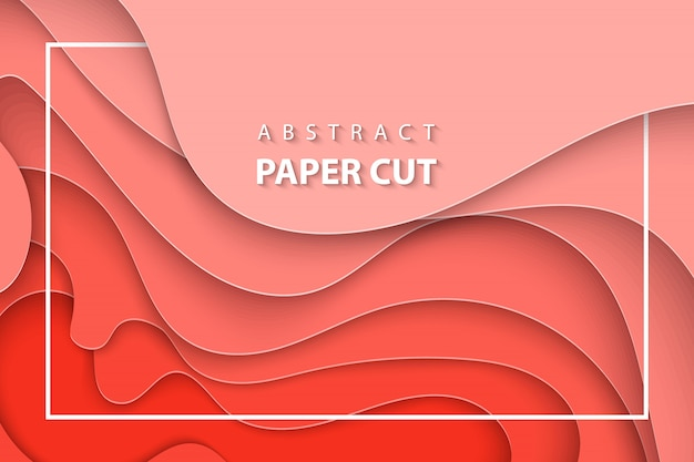 Векторный фон с кораллом тенденции бумаги вырезать