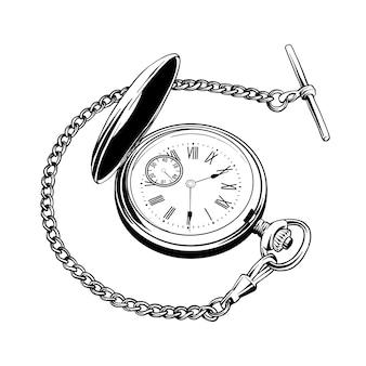Ручной обращается эскиз карманных часов в черном