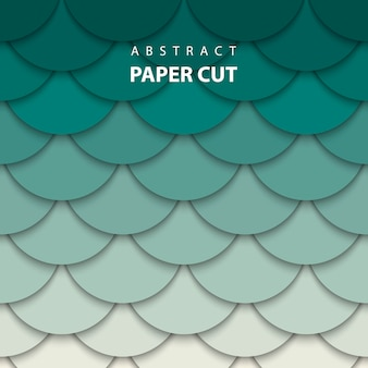 ベージュと緑色の紙のカットのベクトルの背景