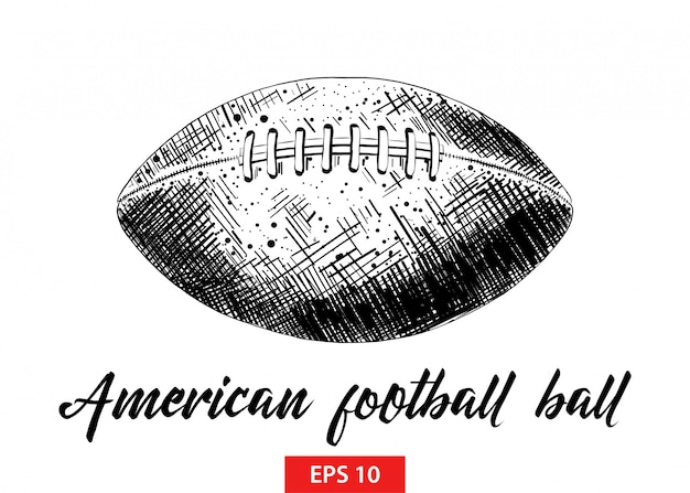 アメリカンフットボールのボールの手描きのスケッチ