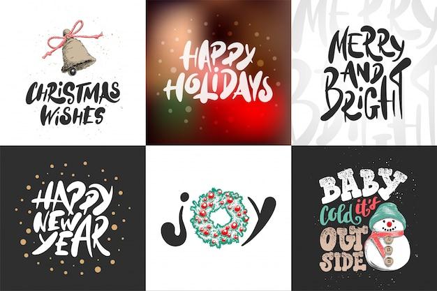 Эскиз набор рождественских и новогодних праздников.