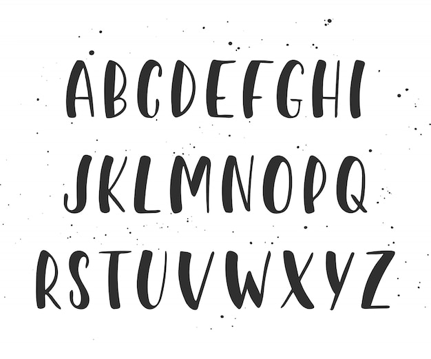 Вектор рукописные кисти сценарий. английский алфавит.