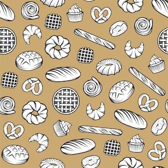 刻まれた要素を持つパン屋さんのシームレスなパターン。パン、ペストリー、パイ、パン、お菓子、カップケーキの背景デザイン