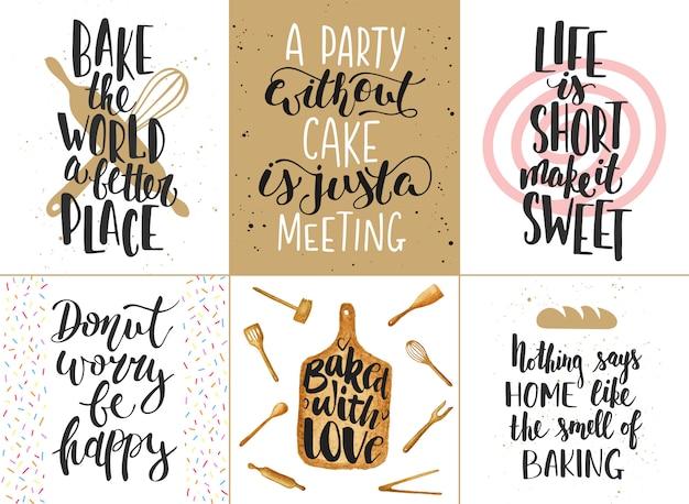 パン屋さんのレタリングポスター、グリーティングカード、装飾品のセットです。手描きのタイポグラフィデザイン要素。
