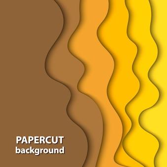 黄色い色紙カットのベクトルの背景