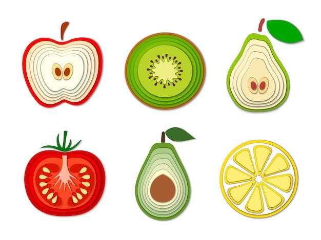 Набор бумаги нарезанных фруктов и овощей