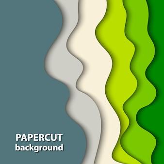 緑とベージュの紙のカットのベクトルの背景