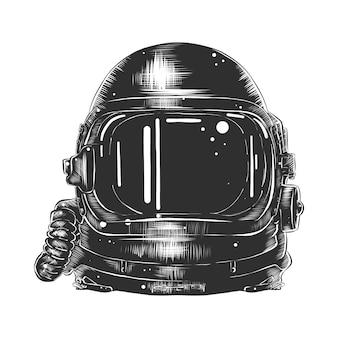 宇宙飛行士のヘルメットの手描きのスケッチ