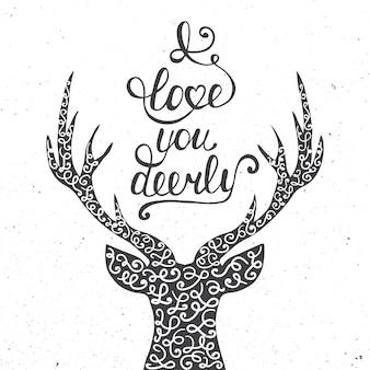私はあなたを愛して鹿を白で隔離