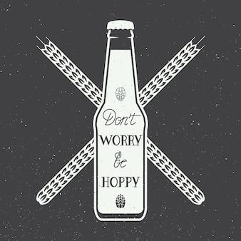 手のレタリング楽しい動機引用とビールのロゴ