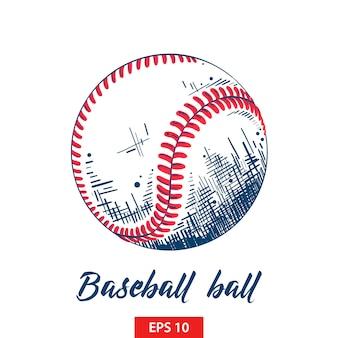 Ручной обращается эскиз бейсбольного или софтбольного мяча
