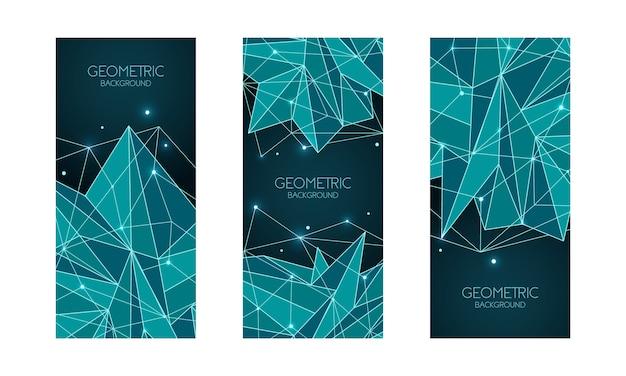 多角形の抽象的な未来的なテンプレート、低ポリ