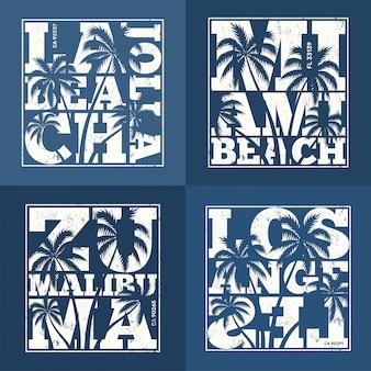 Набор дизайнов футболок курортов сша. векторная иллюстрация