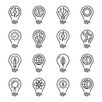 アイデアインテリジェンス創造性知識細い線アイコンセット。編集者