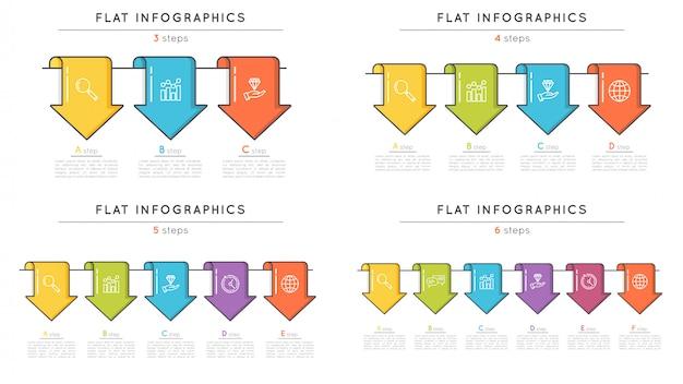 矢印の付いたフラットスタイルタイムラインインフォグラフィックテンプレートのセット。