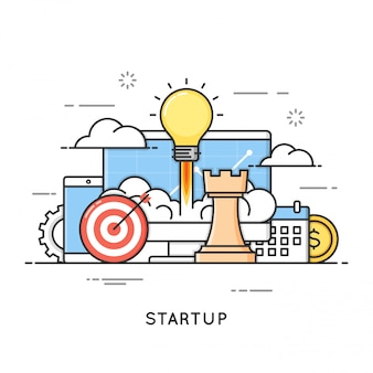 スタートアップ、ビジネスプロジェクトの立ち上げ、新しいアイデア。フラットラインアートスタイル