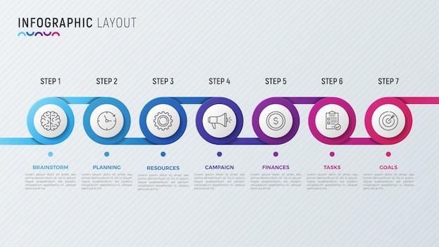データ視覚化のためのタイムラインチャートインフォグラフィックデザイン。