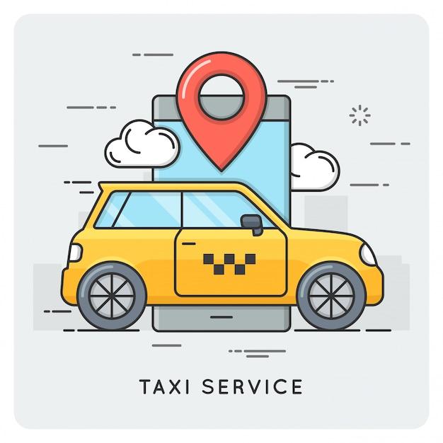 タクシーサービス。細い線のコンセプト。