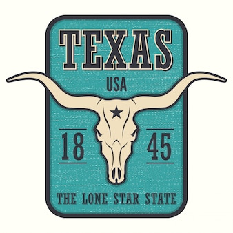 Футболка штата техас с изображением лонгхорна.