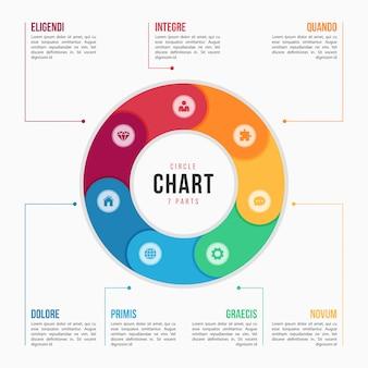 部品、プロセス、手順を持つ円グラフインフォグラフィックテンプレート