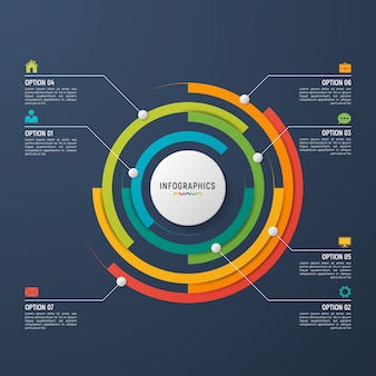 データの視覚化のための円グラフインフォグラフィックテンプレート。