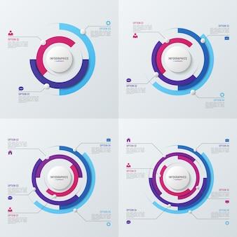 データ視覚化のための円グラフインフォグラフィックテンプレート