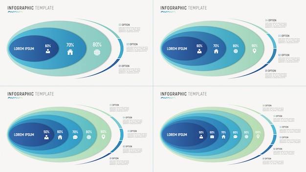 データの抽象的なグラフインフォグラフィックテンプレート