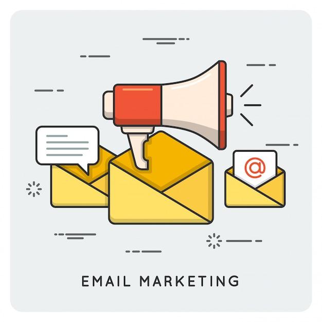 メールマーケティング。細い線 。