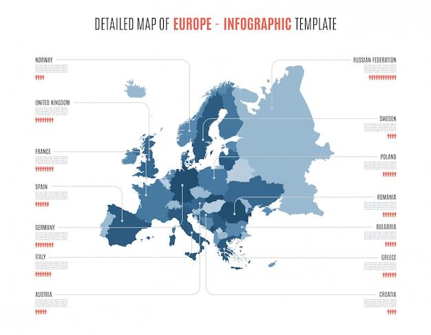 ヨーロッパの詳細な地図。インフォグラフィック用のテンプレート。