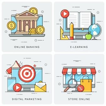 Онлайн банкинг. электронное обучение. цифровой маркетинг. се онлайн.