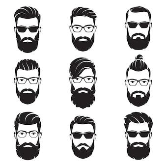 ベクトルのセットひげを生やした男性に直面しているヒップスター