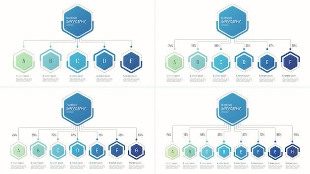 データの視覚化のためのインフォグラフィックテンプレートのセット。オプション