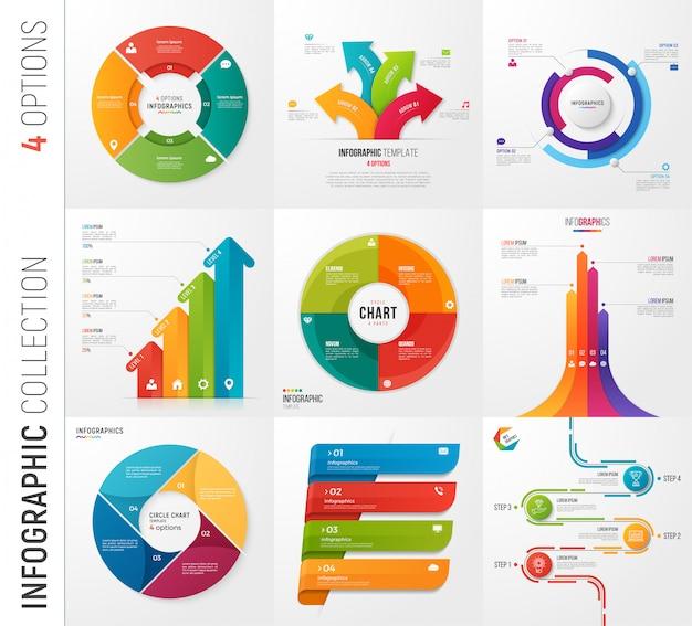 オプションベクトルテンプレートのインフォグラフィックコレクション