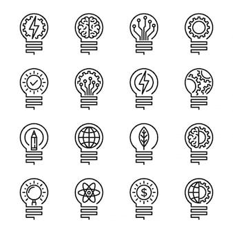 電球の細い線のアイコンを設定します。編集可能なストローク。ベクトルイラスト