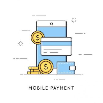 Мобильные платежи, онлайн транзакции и банковское дело. плоская линия в стиле арт. редактируемый штрих.