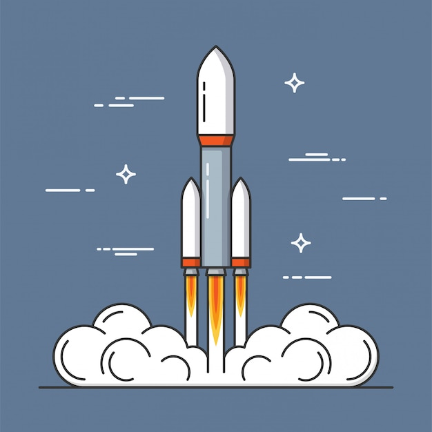 ロケットの打ち上げ。プロジェクトが起動します。細い線 。