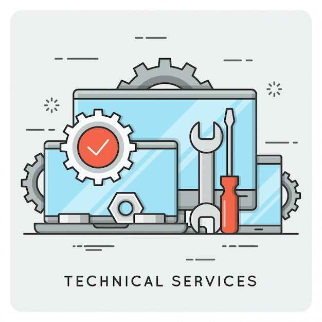 テクニカルサービス。細い線 。