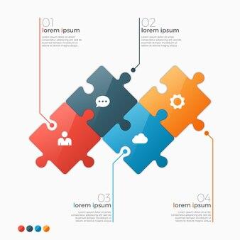 Варианты инфографики шаблон с разделами головоломки