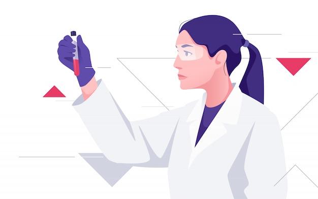 Женщина-врач работает с образцом крови. иллюстрация на тему медицины, науки, исследований, микробиологии
