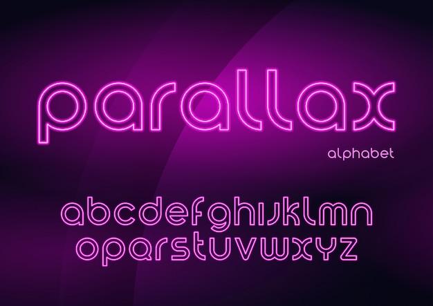 視差ベクトル線形ネオン書体、アルファベット、文字、フォント、
